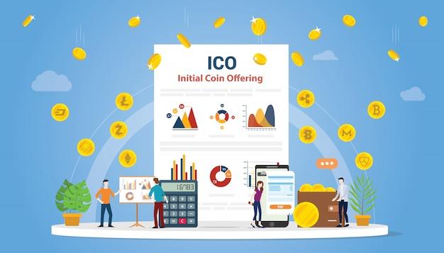 Conceito de oferta de moeda inicial de ico com pessoas
