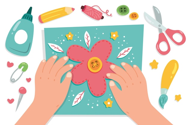 Conceito de oficina criativa diy com as mãos fazendo flor