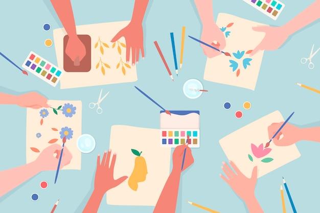 Conceito de oficina criativa diy com pintura de mãos
