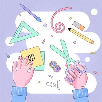 Conceito de oficina criativa diy
