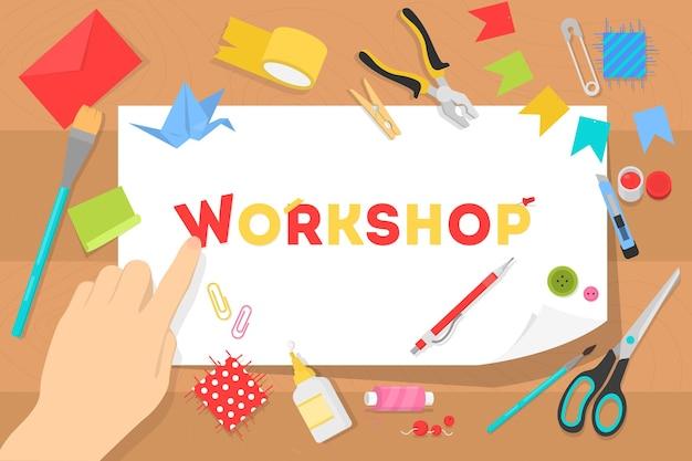 Conceito de oficina. ideia de educação e criatividade. aprimoramento de habilidades criativas e aulas de arte. ilustração em estilo cartoon