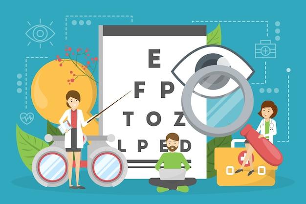 Conceito de oftalmologia. idéia de cuidados com os olhos e visão