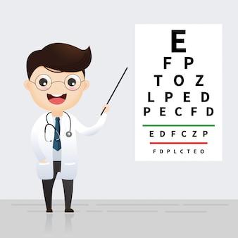 Conceito de oftalmologia. oculista, apontando para o gráfico de teste do olho