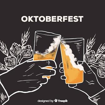 Conceito de oktoberfest com fundo de mão desenhada