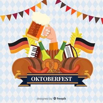 Conceito de oktoberfest com fundo design plano