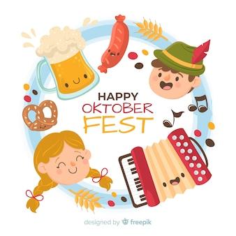 Conceito de oktoberfest com mão desenhada fundo