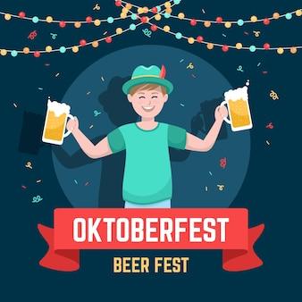 Conceito de oktoberfest de design plano
