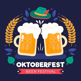 Conceito de oktoberfest em design plano