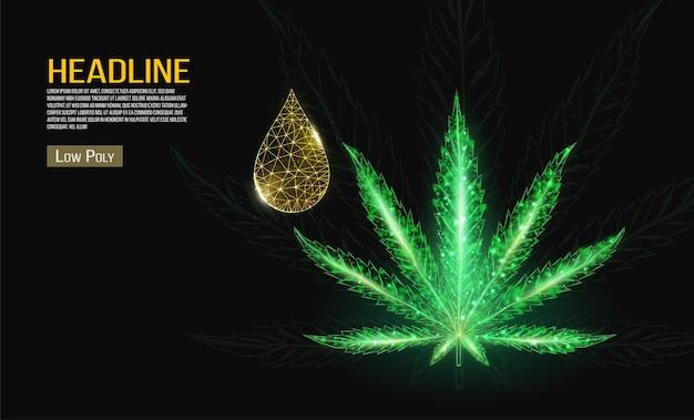Conceito de óleo de cannabis. óleo e cânhamo de baixo poli gota sobre fundo preto.