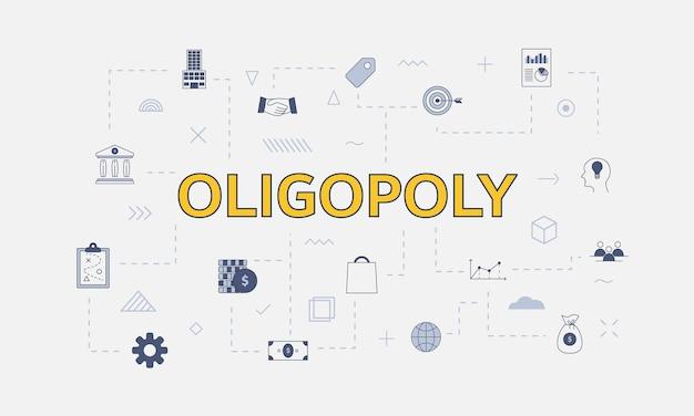 Conceito de oligopólio com conjunto de ícones com grande palavra ou texto no centro de ilustração vetorial