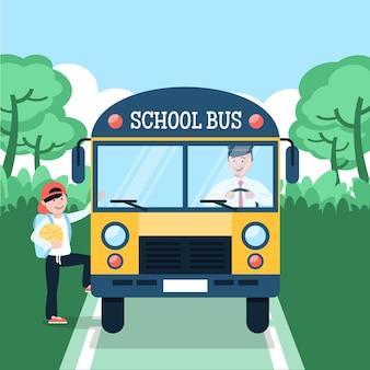 Conceito de ônibus escolar de vista frontal
