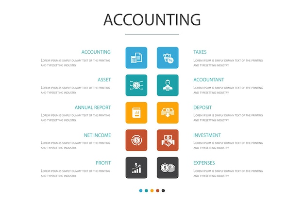 Conceito de opção de contabilidade infográfico 10. conjunto, relatório anual, receita líquida, ícones simples de contador