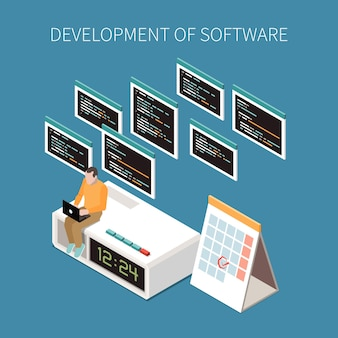 Conceito de operações de programação com configurações e símbolos de serviço isométricos