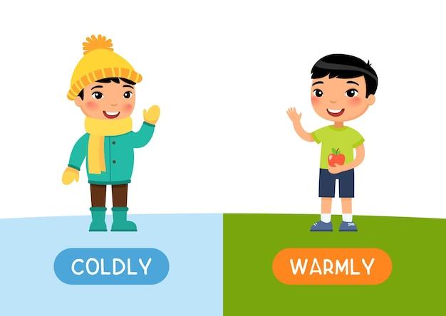 Conceito de opostos cartão flash infantil frio e caloroso