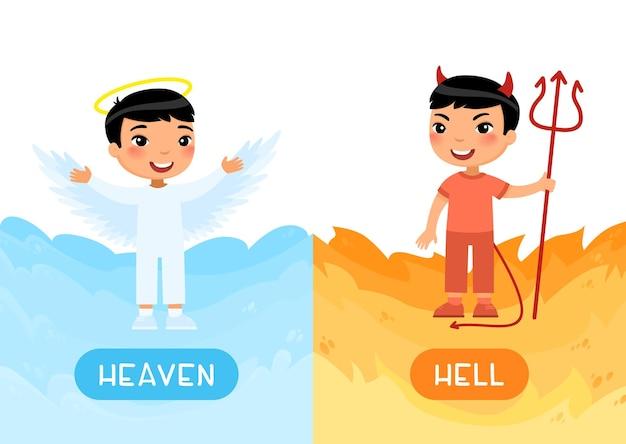 Conceito de opostos céu e inferno