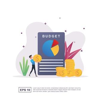 Conceito de orçamento com relatórios em papel e pessoas que carregam moedas
