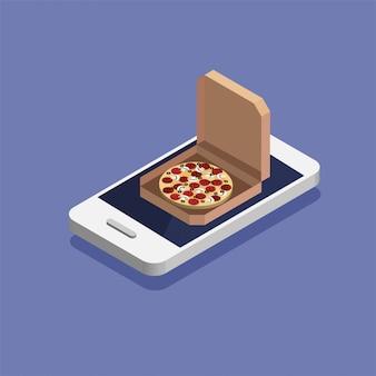 Conceito de ordem e entrega de pizza on-line. encomende comida rápida online. smartphone isométrico gigante com pizza em uma caixa.