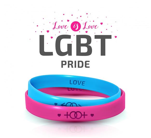 Conceito de orgulho lgbt. pulseiras de borracha rosa e azul para o dia internacional da tolerância
