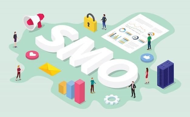 Conceito de otimização de mídia social smo com equipe trabalho digital na análise de dados de negócios