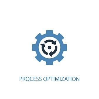 Conceito de otimização de processo 2 ícone colorido. ilustração do elemento azul simples. projeto de símbolo de conceito de otimização de processo. pode ser usado para ui / ux da web e móvel