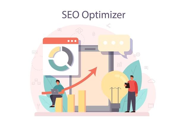 Conceito de otimizador de seo. ideia de otimização de mecanismo de pesquisa para site. promoção de páginas da web na internet.