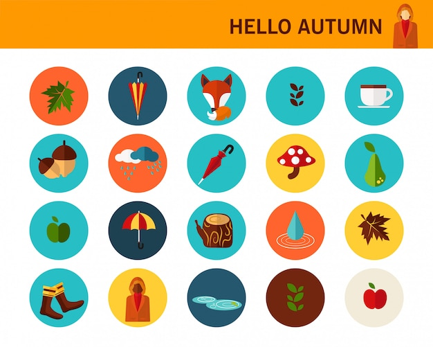 Conceito de outono feliz flat icons.