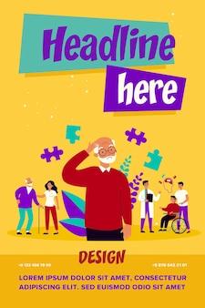 Conceito de pacientes com alzheimer. pessoas que sofrem de doenças cerebrais e perda de memória, buscando ajuda médica