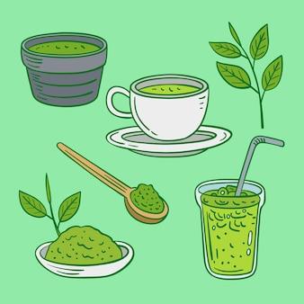 Conceito de pacote de chá matcha