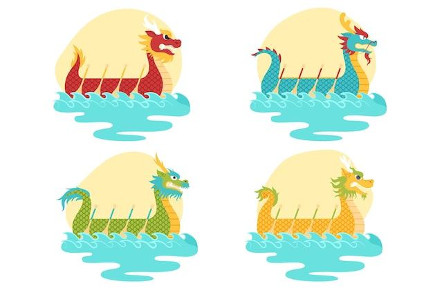 Conceito de pacote zongzi de barcos-dragão