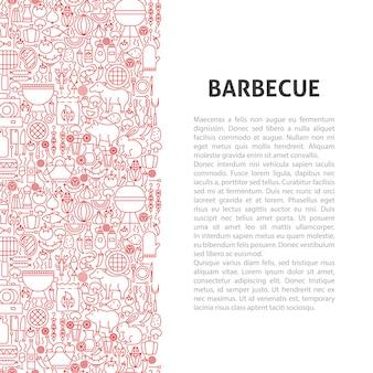 Conceito de padrão de linha de churrasco. ilustração em vetor de outline design.