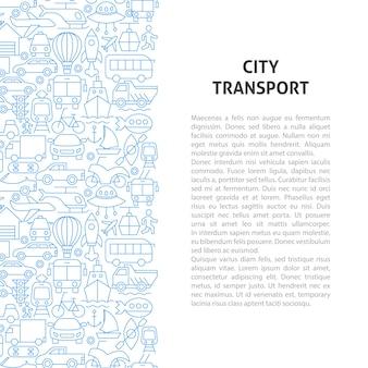 Conceito de padrão de linha de transporte de cidade. ilustração em vetor de outline design.