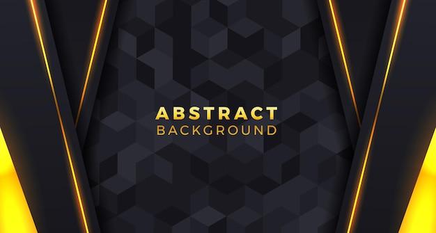 Conceito de padrão de telha preta com fundo geométrico de luxo para o jogo e elegante com cor dourada