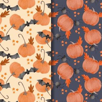 Conceito de padrões de halloween em aquarela