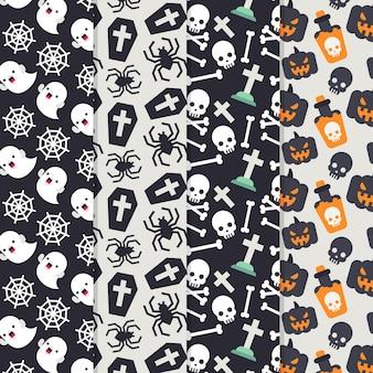 Conceito de padrões de halloween plana