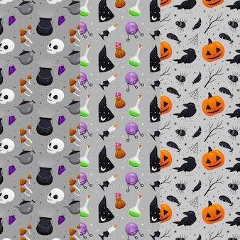Conceito de padrões planos de halloween