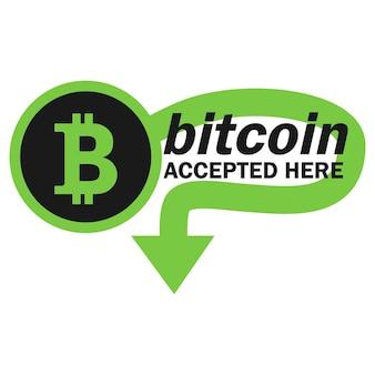Conceito de pagamento bitcoin. criptomoeda móvel. transação ou doação de bitcoin. criptomoeda aceita aqui. vetor
