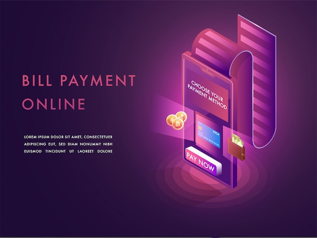 Conceito de pagamento de contas on-line.