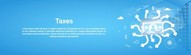 Conceito de pagamento de impostos banner horizontal web com cópia espaço