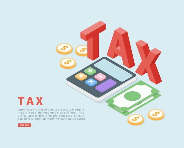 Conceito de pagamento de impostos em isométrico