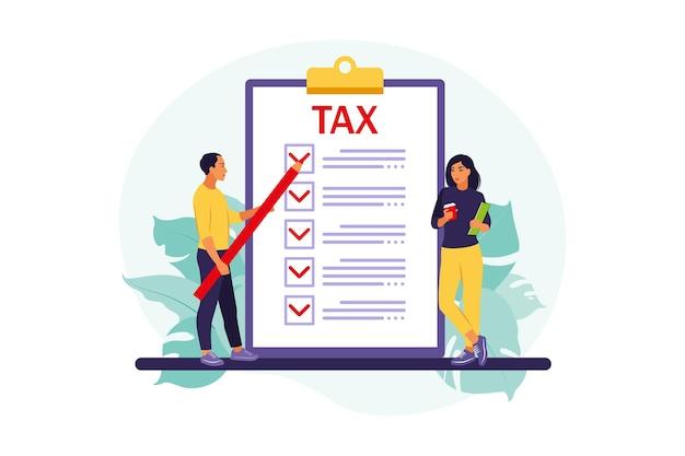 Conceito de pagamento de impostos online. pessoas preenchendo formulário fiscal. ilustração. apartamento.
