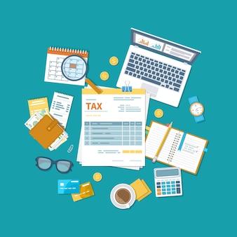 Conceito de pagamento de impostos. tributação do governo do estado, cálculo da declaração de imposto.
