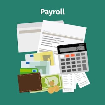 Conceito de pagamento de salário de folha de pagamento