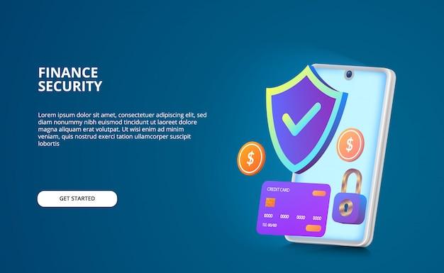 Conceito de pagamento de segurança financeira. ilustração moderna com tela de brilho e cor gradiente. escudo, cadeado, moeda, cartão de crédito 3d com smartphone