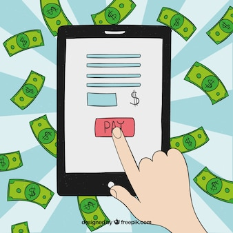 Conceito de pagamento eletrônico, tablet