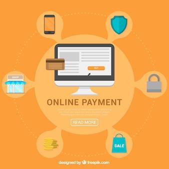 Conceito de pagamento em linha com ícones