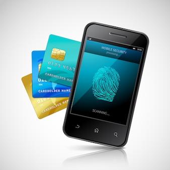 Conceito de pagamento móvel biométrico