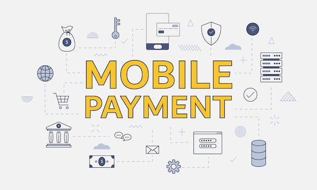 Conceito de pagamento móvel com conjunto de ícones com grande palavra ou texto na ilustração vetorial central