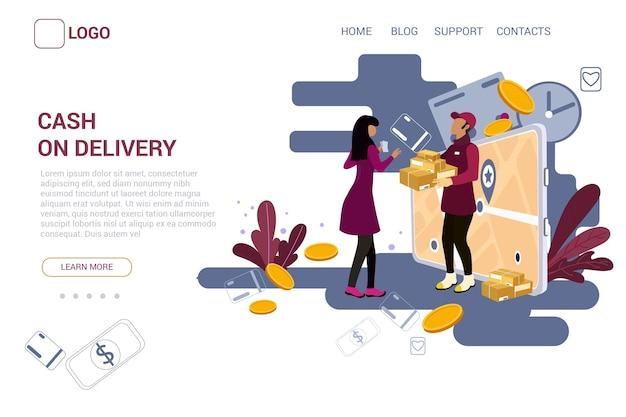 Conceito de pagamento na entrega - página de destino