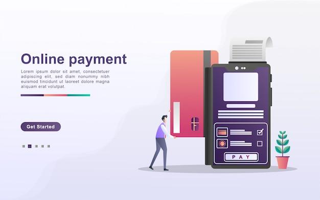Conceito de pagamento on-line. as pessoas pagam pelas compras on-line usando um cartão de débito ou crédito. pagamento online através do aplicativo móvel.