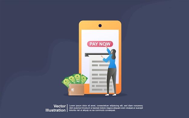 Conceito de pagamento on-line. as pessoas pagam pelas compras on-line usando um cartão de débito ou crédito.